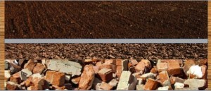 Large drainage material like bricks, followed by gravel, geo fabric and then soil.
