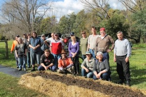 GlobalNet horticulture students with a no-dig bed they prepared.