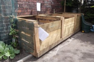A three bay compost system similar to the ones used at the royal tasmanian botanical gardens by globalnet academy horticulture students.