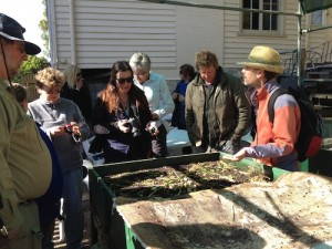 Tasmanian Horticulture students at the Botanical Gardens worm farm.